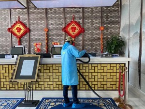Reception decontamination COVID-19 Wuhan China Blue Evolutions drysteam