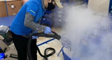Chair decontamination Corona Virus COVIS-19 Wuhan China by Blue Evolution Drysteam
